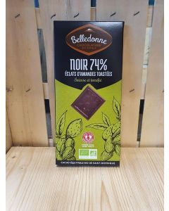 Chocolat noir 74%  amandes toasté
